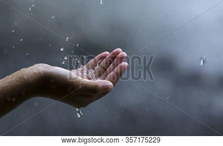 Palm Hands With Water Splash