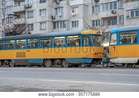 Sofia - February 27, 2020: Prefabricated House In The City On Settlements. Tram At The Stop In Front