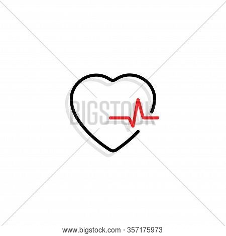Heart With Heartbeat. Black Heart With Red Heartbeat And Shadow In Flat Design, Isolated On White Ba