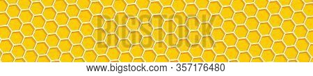 Honeycomb Background. Beehive, Panorama View. Abstract Honeycomb Background. Honeycomb Yellow And Or