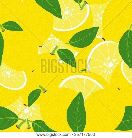 Tropical Seamless Pattern With Lemons. Vector Fruit Background Or Wallpaper.