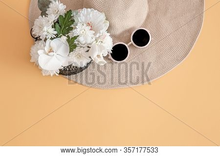 Summer Stylish Background With Summer Accessories.summer Concept