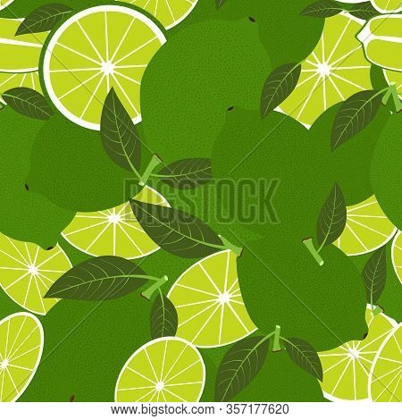 Tropical Seamless Pattern With Lime. Vector Fruit Background Or Wallpaper.