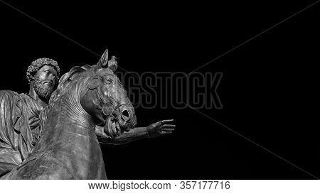 Marcus Aurelius Ancient Roman Emperor Bronze Equestrian Statue At The Center Of Capitol Hill Square