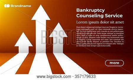 Bankruptcy Counseling Service - Web Template In Trendy Colors. Business Arrow Target Direction To Gr