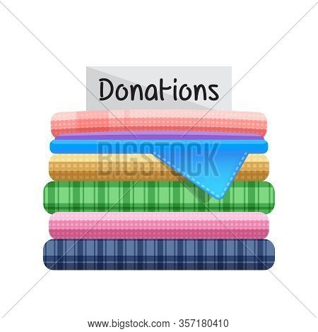 Second Hand Clothes For Donations Isolated On White Background, Illustration Of Donate Clothes, Pile