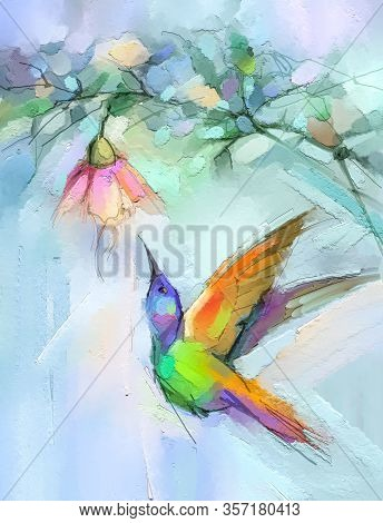 Abstract Colorful Oil, Acrylic Painting Of Bird (hummingbird) And Spring Flower. Modern Art Painting