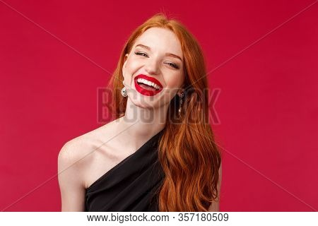Romance, Elegance, Beauty And Women Concept. Close-up Portrait Of Happy, Cheerful Redhead Woman In L