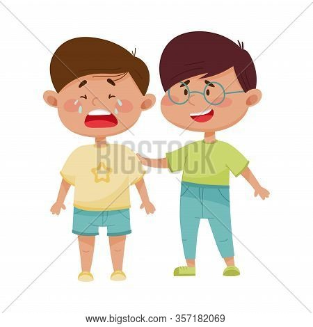 Friendly Little Boy Comforting His Crying Friend Vector Illustration