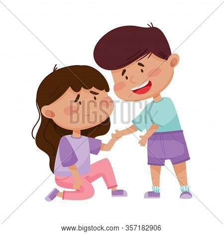 Friendly Little Boy Comforting And Supporting His Friend Vector Illustration