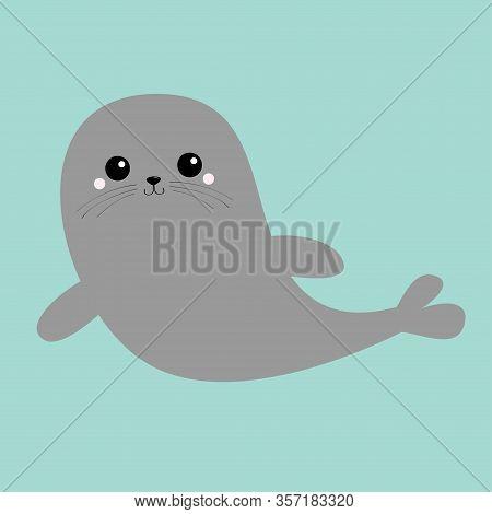 Sea Lion. Harp Seal Pup Set. Cute Cartoon Kawaii Character. Happy Animal Collection. Sea Ocean Water