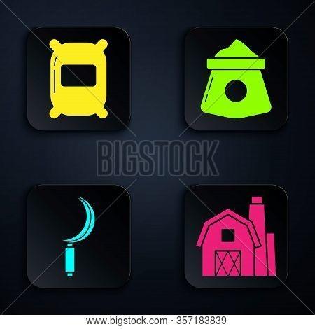 Set Farm House Concept, Bag Of Flour, Sickle And Bag Of Flour. Black Square Button. Vector