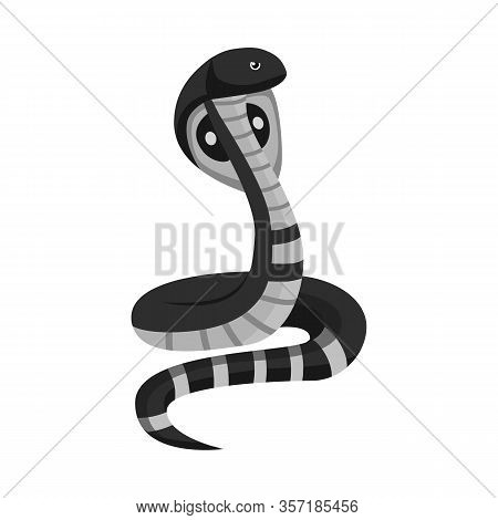 Vector Illustration Of Cobra And King Sign. Graphic Of Cobra And Head Stock Vector Illustration.