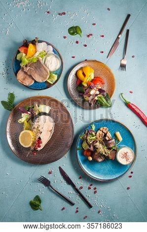 Healthy Steamed Food: Beef Tongue, Salmon Steak, Steamed Vegetables, Steamed Beef