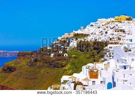Greece, Santorini Island In Cyclades, Traditional White Washed Houses Above The Sea, Panoramic View