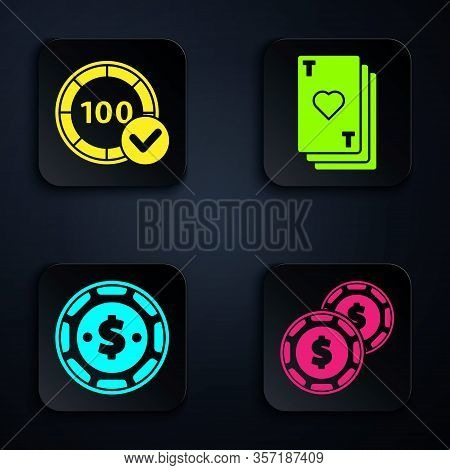 Set Casino Chip With Dollar, Casino Chips, Casino Chip With Dollar And Playing Card With Heart. Blac