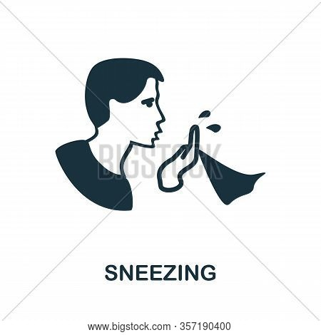 Sneezing Icon. Simple Illustration From Coronavirus Collection. Creative Sneezing Icon For Web Desig