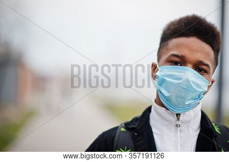 African Man At Park Wearing Medical Masks Protect From Infections And Diseases Coronavirus Virus Qua