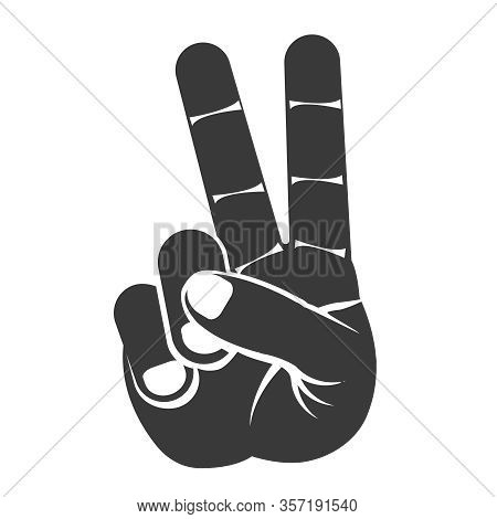 Victory Silhouette Peace V Sign Hand Gesture Index Middle Fingers Raised Parted Icon Design Vector I