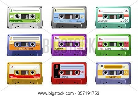 Music Cassettes. Retro Dj Sound Tape, 1980s Rave Party Stereo Mix, Old School Record Technology. Web