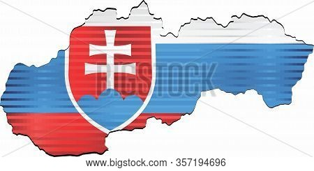 Shiny Grunge Map Of The Slovakia - Illustration,  Three Dimensional Map Of Slovakia