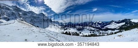 Awesome winter landscape with spruces covered in snow. Frosty day, exotic wintry scene. Magic Carpathian mountains, Switzerland, Europe. Winter nature wallpapers. Splendid christmas scene.