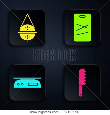 Set Bread Knife, Ball Tea Strainer, Electronic Scales And Cutting Board. Black Square Button. Vector