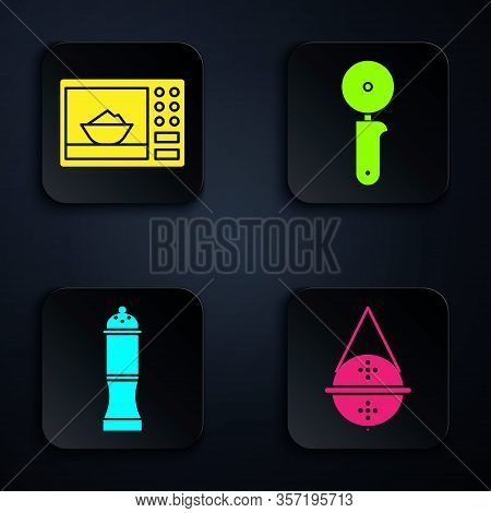Set Ball Tea Strainer, Microwave Oven, Pepper And Pizza Knife. Black Square Button. Vector
