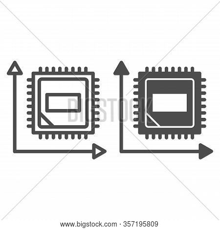Microchip In Graph Line And Solid Icon. Computer Chip In Coordinate System Symbol, Outline Style Pic