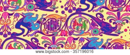 Seamless Pattern Of Persian Ornament. Template For Wallpaper, Textile, Shawl, Carpet And Any Surface