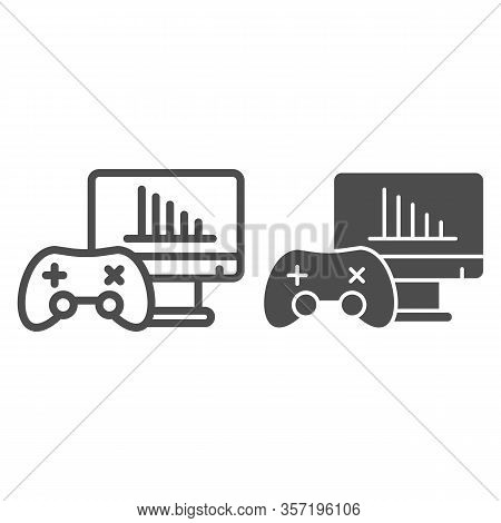 Gamer Testing Line And Solid Icon. Gamepad Or Joystick And Game Chart Monitor Symbol, Outline Style