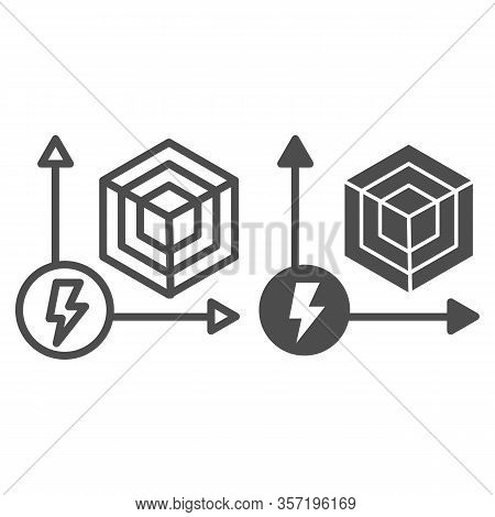 Power Performance Chart Line And Solid Icon. Energy Graph, Hexagon In Coordinate Symbol, Outline Sty