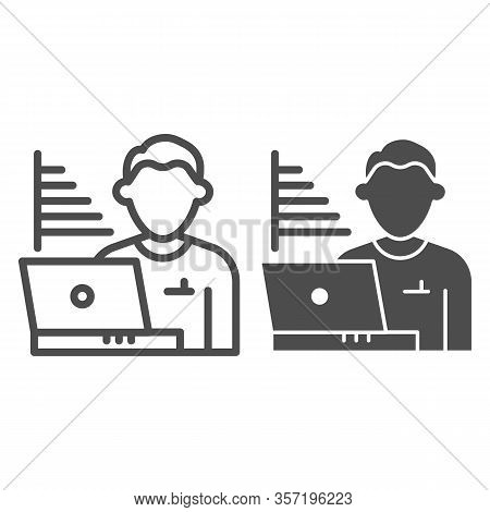Technician Blogger Line And Solid Icon. Statistics Chart And User With Laptop Symbol, Outline Style
