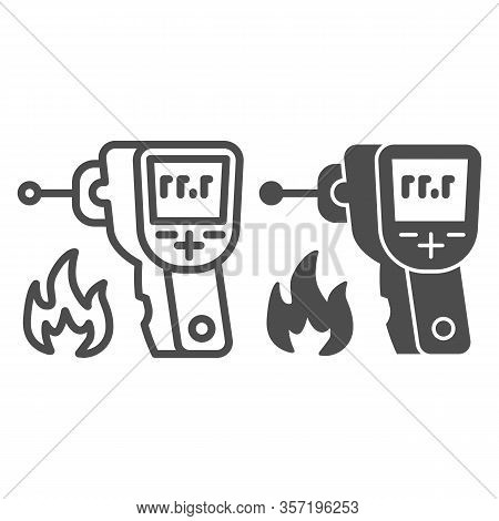 Infrared Thermometer Line And Solid Icon. Non-contact Heat Measure Sensor Device Symbol, Outline Sty