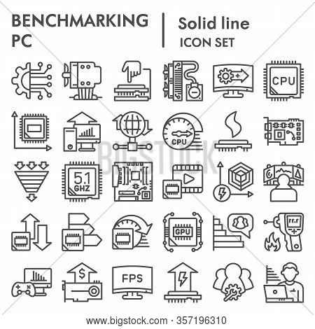 Benchmarking Line Icon Set. Technology And Computer Signs Collection, Sketches, Logo Illustrations,