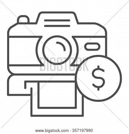 Selling Photos On Stock Thin Line Icon. Photocamera And Dollar Coin Symbol, Outline Style Pictogram
