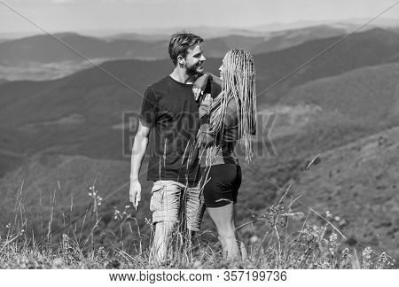 Honeymoon In Highlands. Two Hearts Full Of Love. Beautiful Couple Embracing Landscape Background. Co