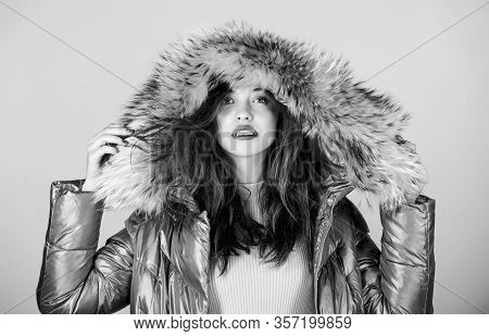 Emotional Woman In Jacket. Winter Outfit. Playful Fashionista. Black Friday. Confidence And Feminini