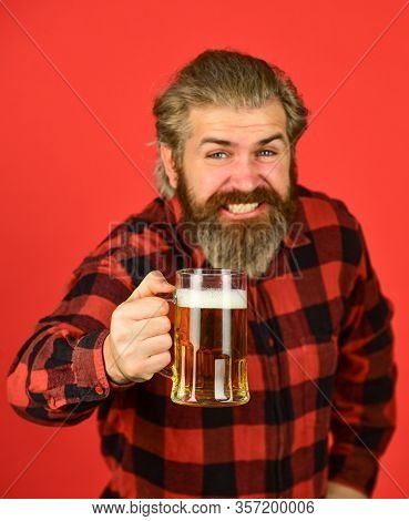 Happy Birthday Concept. Make Sip. Celebrate With Alcohol. Craftsmanship. Mature Bearded Man Hold Bee
