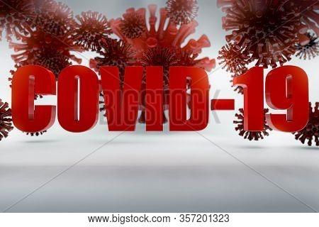 3d Render Of Coronavirus Model And Covid-19 Banner. Background For World Virus Pandemy Of Corona Vir