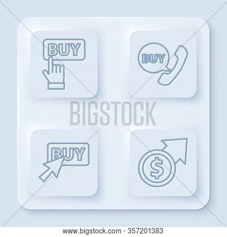 Set Line Buy Button, Phone And Speech Bubble With Buy, Buy Button And Financial Growth And Coin. Whi