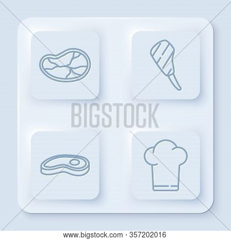Set Line Steak Meat, Rib Eye Steak, Steak Meat And Chef Hat. White Square Button. Vector