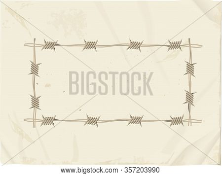 Vintage Grunge Paper Sheet With Barbwire Border Copy Space For Your Messages