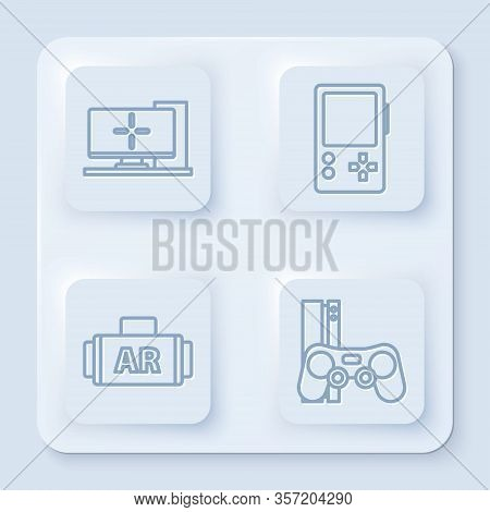 Set Line Computer Monitor, Portable Video Game Console, Ar, Augmented Reality And Game Console With