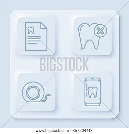 Set Line Clipboard With Dental Card, Tooth With Caries, Dental Floss And Online Dental Care. White S