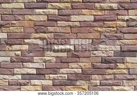 Texture Of A Stone Wall. Old Castle Stone Wall Texture Background. Part Of A Stone Wall, For Backgro