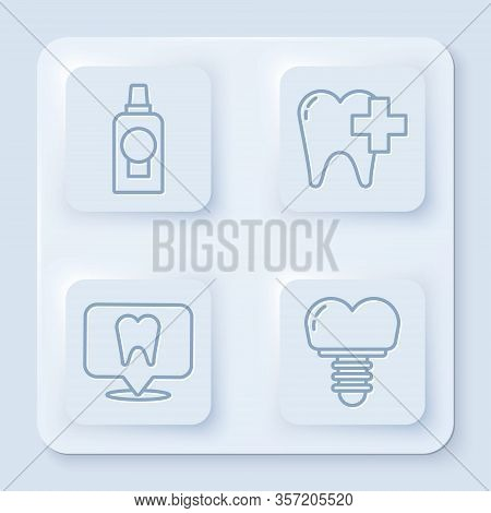 Set Line Mouthwash Plastic Bottle, Dental Clinic For Dental Care Tooth, Dental Clinic Location And D