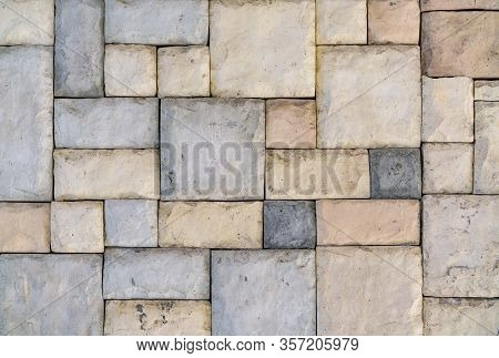 The Texture Of The Paved Tile On The Bottom Of The Street. Cement Brick Squared Stone Floor Backgrou