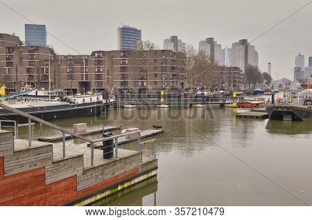 Rotterdam - 13 February 2019: Rotterdam, The Netherlands. View Of The Leuvehaven Ship Harbor In The