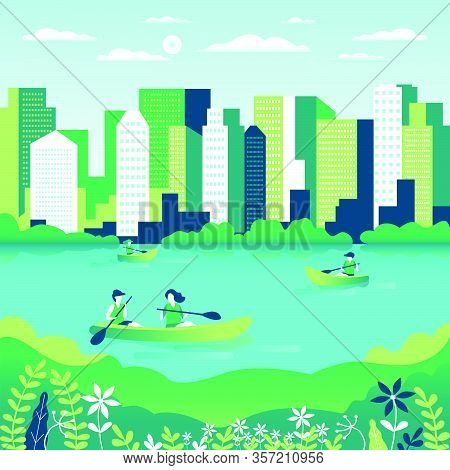Rowing, Sailing In Boats As A Sport Or Form Of Recreation Vector Flat Illustration. Boating Fun For
